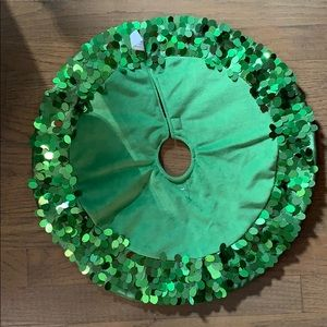 Christmas Tree Skirt- Green Velour with Sequins
